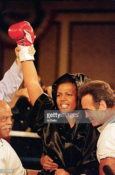 Freeda Foreman celebrates in the ring after winning the fight against LaQuanda Landers at the Regent Hotel in Las Vegas Nevada Foreman defeated...