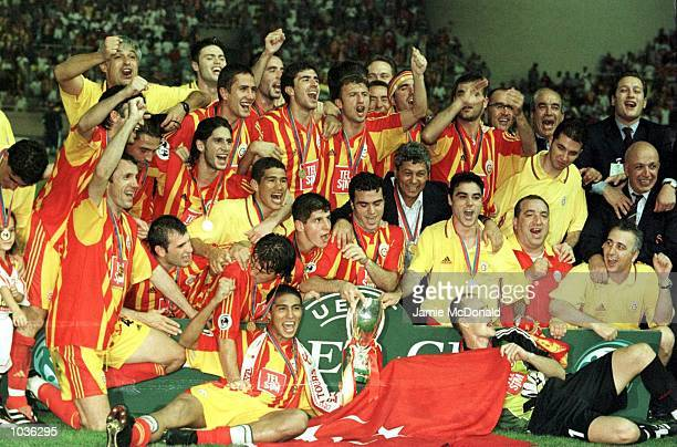 Galatasaray celebrate winning the Super Cup after the UEFA Super Cup match between Real Madrid v Galatasaray at the Stade Louis II Monaco Monte Carlo...