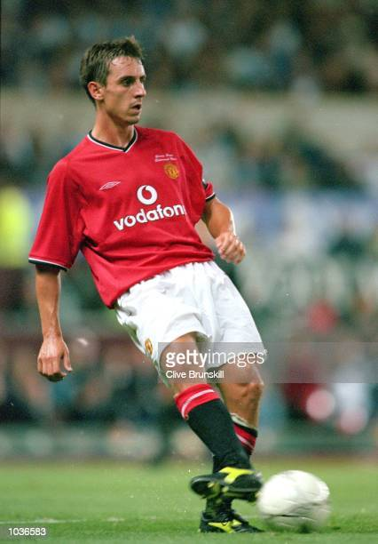 Gary Neville of Manchester United in action during the Denis Irwin Testimonial match against Manchester City at Old Trafford in Manchester England...