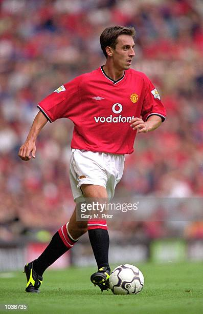 Gary Neville of Manchester United on the ball during the FA Carling Premiership match against Newcastle United at Old Trafford in Manchester England...