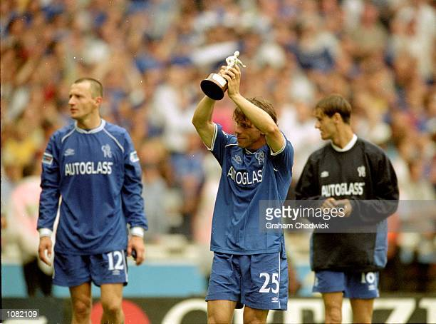Gianfranco Zola of Chelsea celebrates after the Charity Shield match against Manchester United played at Wembley Stadium in London Chelsea won the...