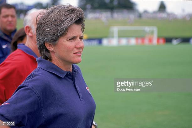 Head Coach April Heinrichs of Team USA looks on during a game against Team Russia at the NavyMarine Corps Memorial Stadium in Annapolis Maryland Team...