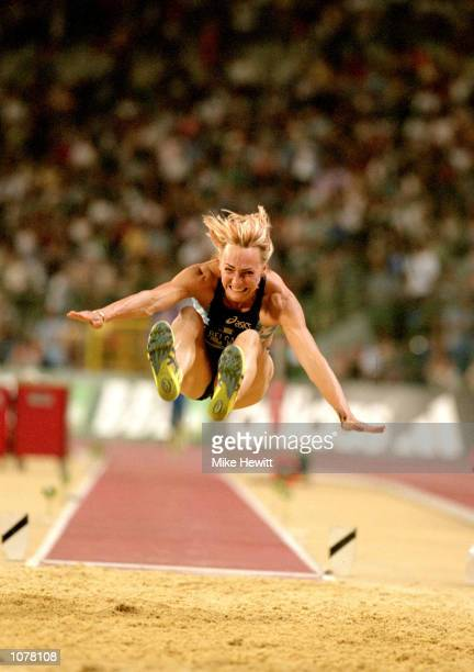 Heike Drechsler of Germany in action in the Women's Long Jump during the IAAF Golden League Memorial Van Damme meeting held at the Stade Roi Baudoin...