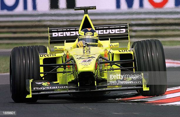 heinzharald Frentzen of Germany and Jordan during the first free practice session for the Hungarian Grand Prix at Budapest Hungary Mandatory Credit...
