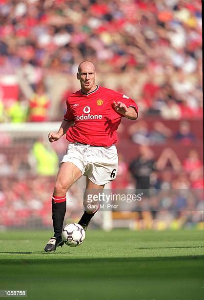 Jaap Stam of Manchester United in action during the FA Carling Premiership match against Newcastle United at Old Trafford in Manchester England...