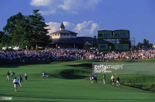 Jack Nicklaus walks up to the 18th green during the PGA Championship part of the PGA Tour at the Valhalla Golf Club in Louisville KentuckyMandatory...