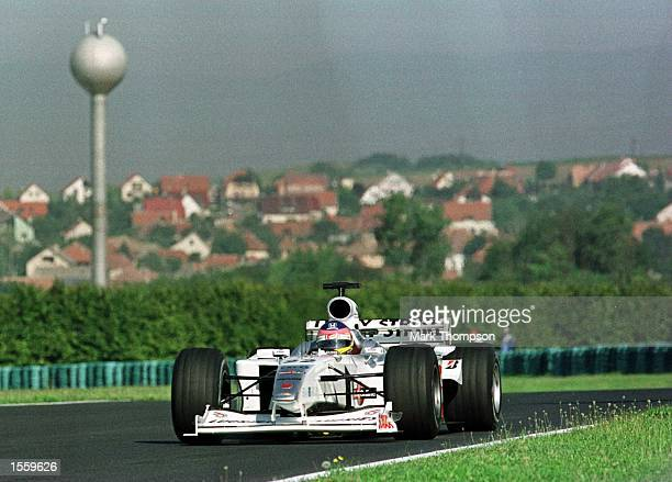 Jacques Villeneuve of Canada and BAR during the third free practice session for the Hungarian Grand Prix at Budapest Hungary Mandatory Credit Mark...