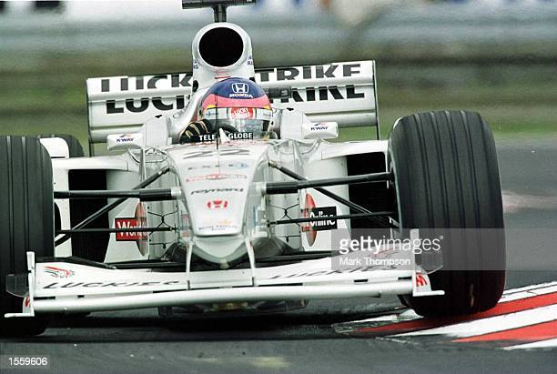Jacques Villeneuve of Canada and BAR Honda during the second free practice session for the Hungarian Grand Prix at Budapest Hungary Mandatory Credit...