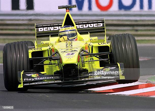 Jarno Trulli of Italy and Jordan during the first free practice session for the Hungarian Grand Prix at Budapest Hungary Mandatory Credit Mark...