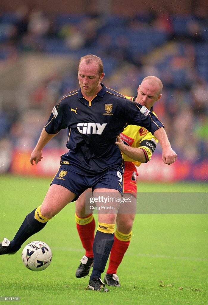John Hartson of Wimbledon shields the ball during the Nationwide League Division One match against Watford at Selhurst Park, in London. The match ended in a 0-0 draw. \ Mandatory Credit: Craig Prentis /Allsport