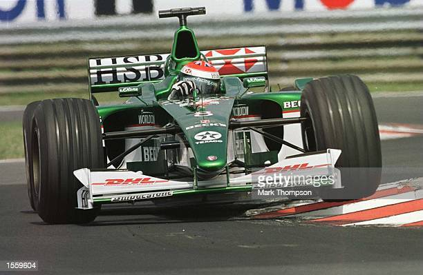Johnny Herbert of Great Britain and Jaguar during the second free practice session for the Hungarian Grand Prix at Budapest Hungary Mandatory Credit...