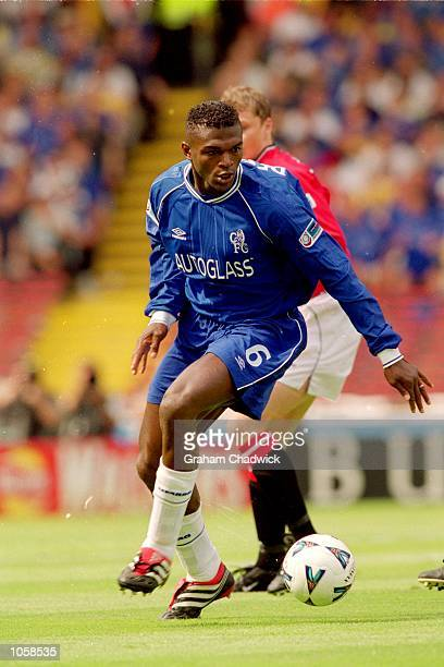 Marcel Desailly of Chelsea in action during the FA Charity Shield match against Manchester United at Wembley Stadium in London Chelsea won the match...