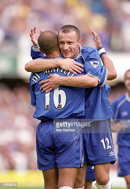 Mario Stanic of Chelsea celebrates his goal with team mate Roberto Di Matteo during the FA Carling Premiership match against West Ham United at...