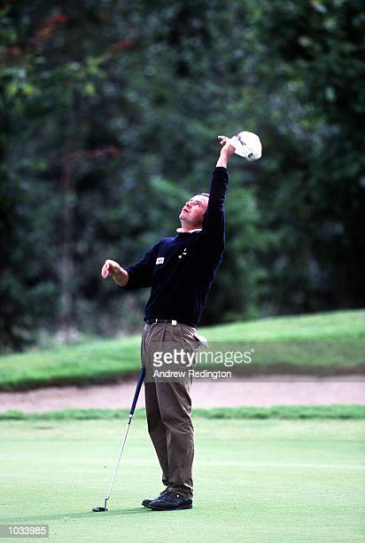 Massimo Scarpa of Italy celebrates his eagle putt on the 13th green during the final round of the Buzzgolfcom Noth West of Ireland Open at Slieve...