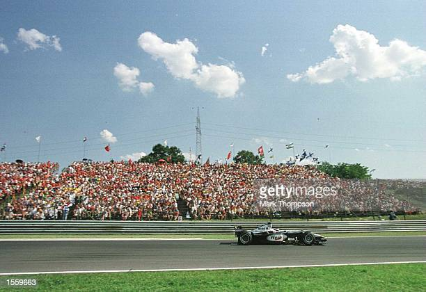 Mika Hakkinen of Finland and McLaren during the Hungarian Grand Prix in Budapest Hungary Mandatory Credit Mark Thompson/ALLSPORT