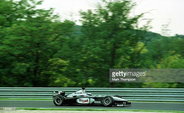 Mika Hakkinen of Finland and McLaren during the second free practice session for the Hungarian Grand Prix at Budapest Hungary Mandatory Credit Mark...