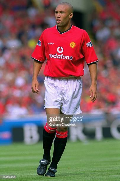 Mikael Silvestre of Manchester United in action during the Charity Shield against Chelsea at Wembley Stadium in London Chelsea won the match 20...