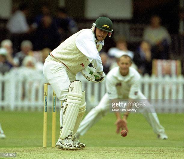 Neil Burns of Leicestershire on his way to 26 not out against Yorkshire on the first day of the PPP healthcare County Championship match at Leicester...