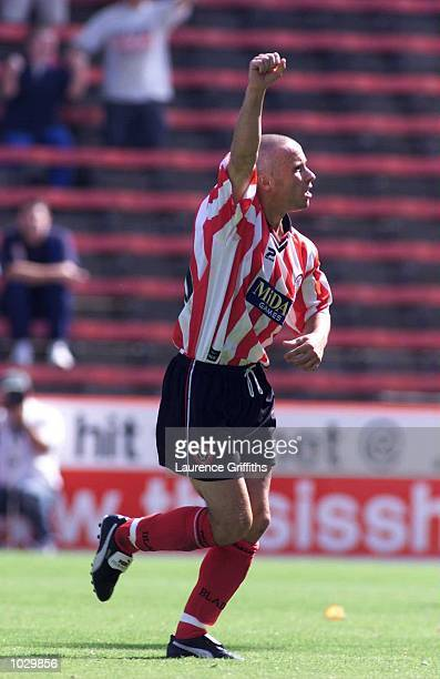 Paul Devlin of Sheffield United celebrates scoring the 1st goal during the Nation Wide first division match between Sheffield United and Portsmouth...