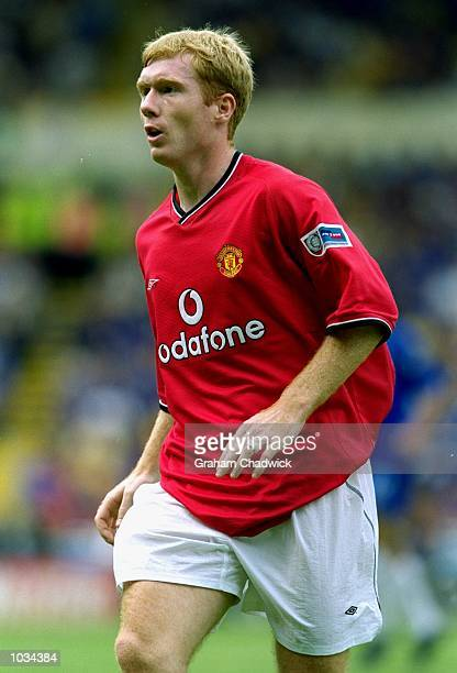Paul Scholes of Manchester United in action during the Charity Shield against Chelsea at Wembley Stadium in London Chelsea won the match 20 Mandatory...