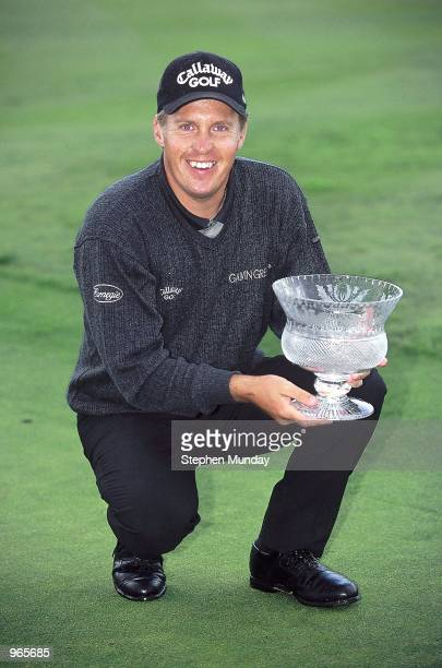 Pierre Fulke of Sweden holds the trophy after victory in the Scottish PGA Championship at the Gleneagles Hotel in Scotland. \ Mandatory Credit:...