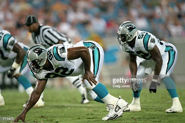 Reggie White of the Carolina Panthers gets ready for the play during the PreSeason game against the Baltimore Ravens at Ericsson Stadium in Charlotte...
