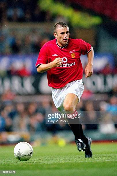 Ronnie Wallwork of Manchester United in action during Denis Irwin's testimonial match against Manchester City at Old Trafford in Manchester England...