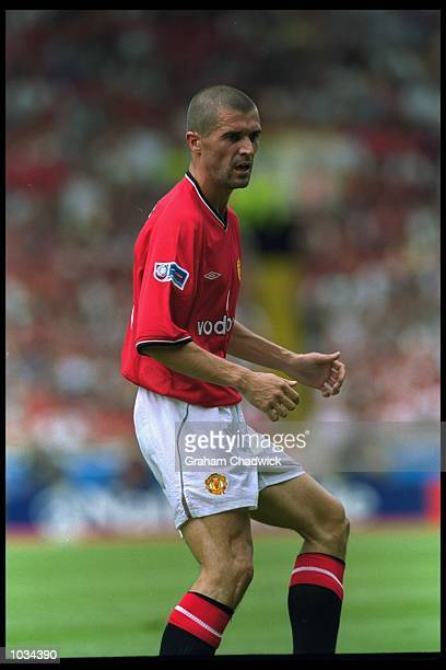 Roy Keane of Manchester United in action during the Charity Shield against Chelsea at Wembley Stadium in London Chelsea won the match 20 Mandatory...