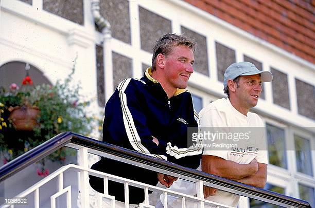 Steve Redgrave and Matthew Pinsent of the Great Britain coxless four taken during a Nautica photocall at the Leander Club in Henley England Mandatory...