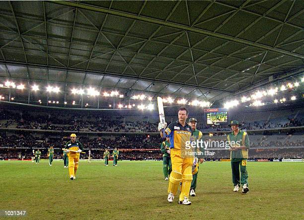 Steve Waugh of Australia leaves the field at the end of the Australian innings after scoring 114 not out, in the match between Australia and South...