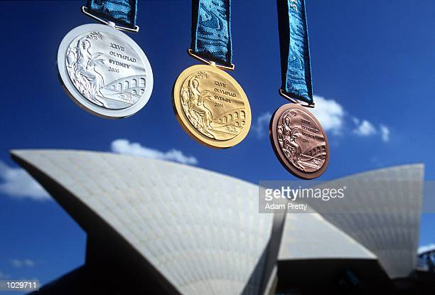 The medals for the 2000 Sydney Olympic Games are unveiled during a press conference at the Sydney Opera House in Sydney Australia Mandatory Credit...