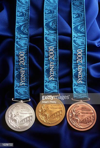 The medals for the 2000 Sydney Olympics are unveiled during a press conference at the Sydney Opera House in Sydney Australia Mandatory Credit Adam...