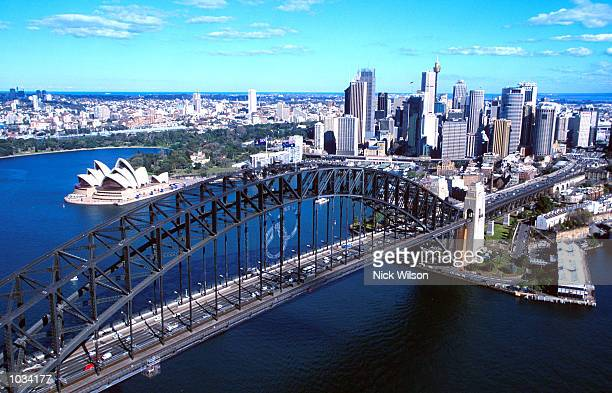 The Olympic Rings being erected on the Sydney Harbour Bridge in the lead up to the 2000 Olympic Games in Sydney Austalia Mandatory Credit Nick...