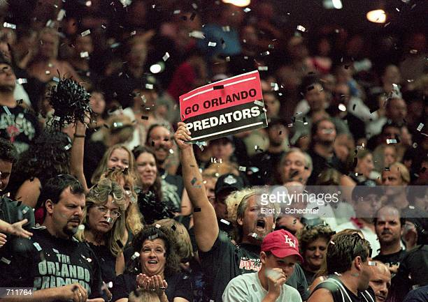 The Orlando Predators celebrate in the stands during the Arena Bowl Game against the Nashville Kats at the TD Waterhouse Centre in Orlando Florida...