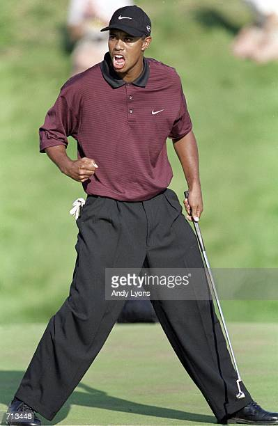 Tiger Woods celebrating a difficult putt during the PGA Championship part of the PGA Tour at the Valhalla Golf Club in Louisville KentuckyMandatory...