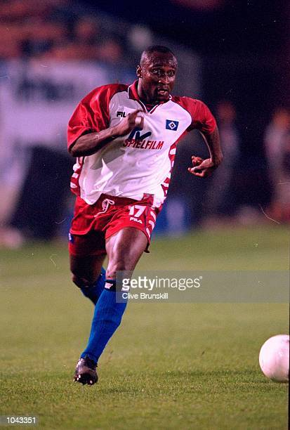 Tony Yeboah of Hamburg in action during the European Champions League third qualifying round second leg match against Brondby at the Volksparkstadion...