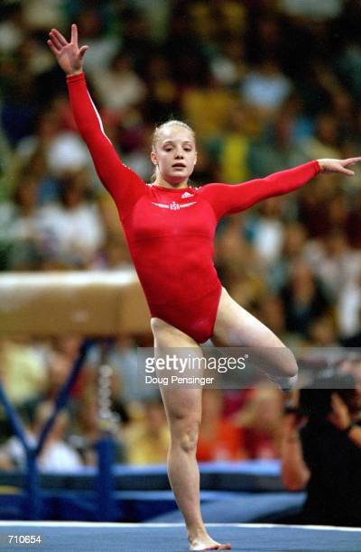 Vanessa Atler is doing her routine in the Floor Exercise Event during the US Women's Olympic Gymnastics Trials at the Fleet Center in Boston...