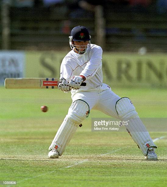 Warren Hegg of Lancashire on his way to at 69 not out on the third day of the PPP Healthcare County Championship match at Leicester Mandatory Credit...
