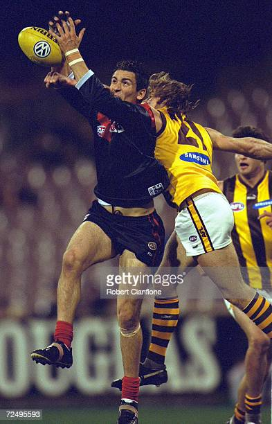 Adem Yze for Melbourne attempts to mark the ball during the AFL round 19 game between the Melbourne Demons and the Hawthorn Hawks played at the...