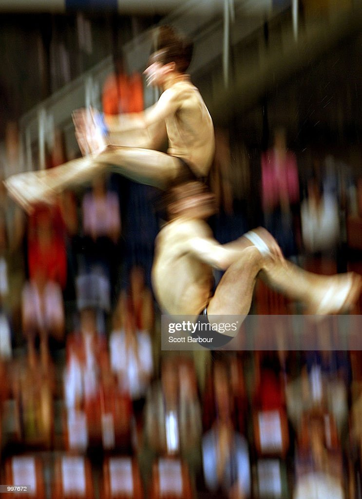 Aleksandr Varlamov and Igor Lukashin of Russia in action whilst winning bronze in the Mens Platform Synchro held at the Chandler Aquatic Centre at the Goodwill Games in Brisbane, Australia. DIGITAL IMAGE. Mandatory Credit: Scott Barbour/ALLSPORT