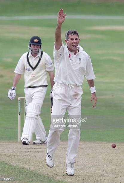 Andrew Caddick of England celebrates the wicket of Damien Martyn of Australia during the 4th day of the 4th Test Match between England and Australia...