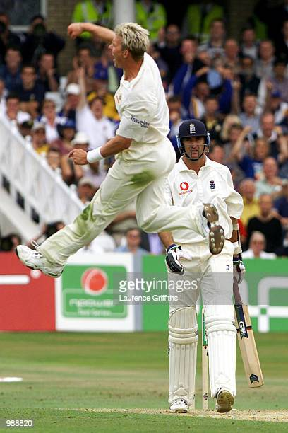 Andrew Caddick of England watches Brett Lee of Australia celebrate his wicket during the first day of the Npower Third Test match between England and...