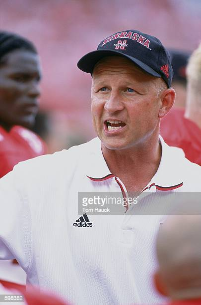 Assistant Coach Craig Bohl of the Nebraska Cornhuskers talking to the players during the game against the Texas Christian Horned Frogs at Memorial...