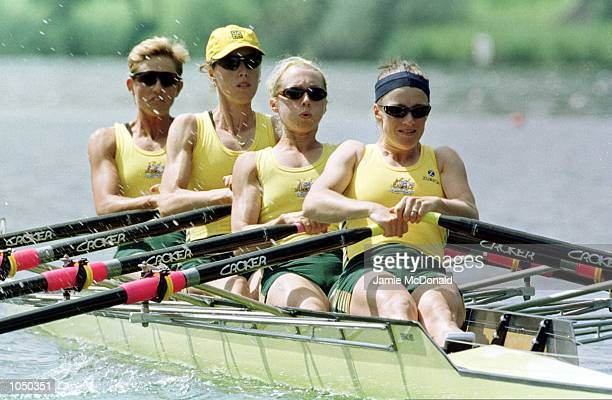 Australian's lightweight womens quadruple sculls Josephine Lips Sally Causby Amber Halliday and Corinna Mondani during the FISA World Rowing...