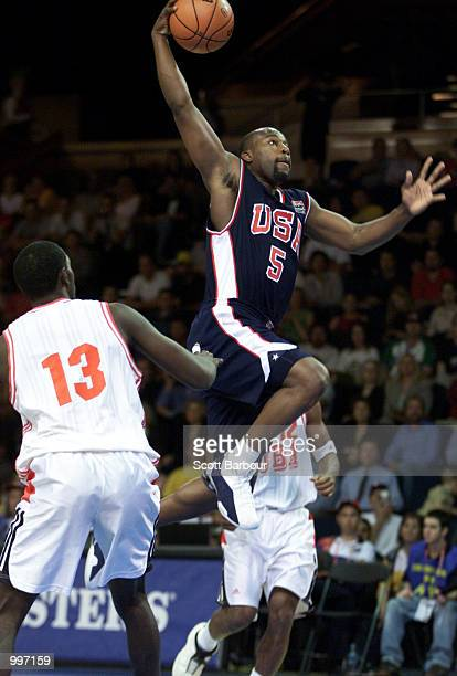 Baron Davis of USA in action during the USA v Cuba Basketball game at the Goodwill Games in Brisbane Australia DIGITAL IMAGE Mandatory Credit Scott...