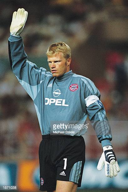 Bayern Munich Goalkeeper Oliver Kahn in action during the UEFA European Super Cup final against Liverpool played at the Stade Louis II Stadium in...