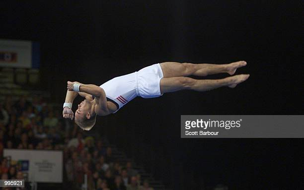 Brett McClure of USA in action during the Mens Gymnastics Floor Exercise held at the Brisbane Convention and Exhibition Centre at the Goodwill Games...