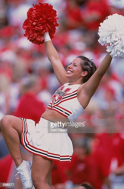 Cheerleader for the Nebraska Cornhuskers doing her rutine during the game against the Texas Christian Horned Frogs at Memorial Stadium in Lincoln...