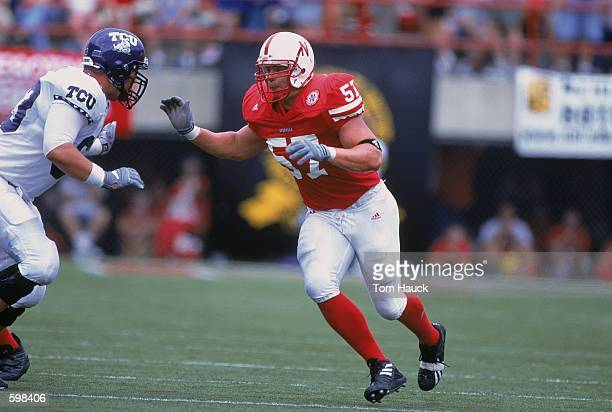Chris Kelsay of the Nebraska Cornhuskers in action during the game against the Texas Christian Horned Frogs at Memorial Stadium in Lincoln Nebraska...