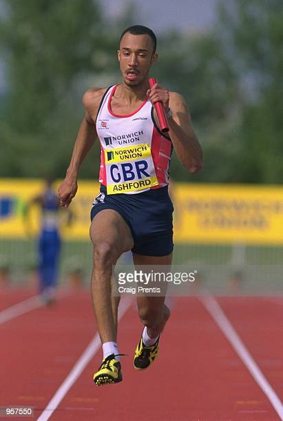 Chris Lambert of Great Britain in action in the 4x100m Relay during the Norwich Union sponsored International between Great Britain and France at the...